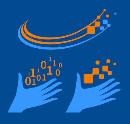 releasing: Hand releasing into the sky numbers, and symbols of the digital world