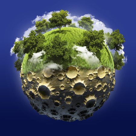 lifeless: Half of the planets growing green forest lifeless second half of the moon Stock Photo