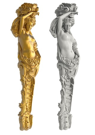 ancient philosophy: Greek ancient statue of the Caryatids on white background  isolated Stock Photo