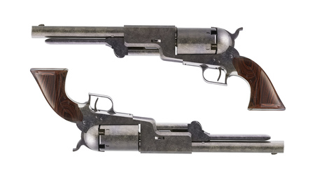 vintage gun: Antique revolvers for duel isolated on white background