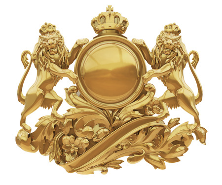 Old golden coat of arms with lions isolate white background