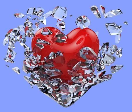 vasos de agua: Corazón hecho añicos las cadenas de hielo aislados sobre fondo azul