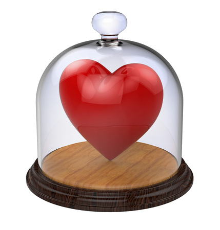impregnable: Impregnable heart in a glass case isolated on white background
