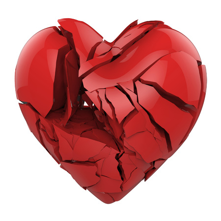 broken relationship: Broken red heart isolated on white background Stock Photo