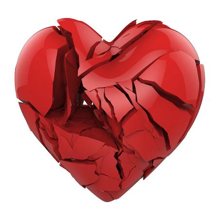 Corazón rojo quebrado aislado en el fondo blanco