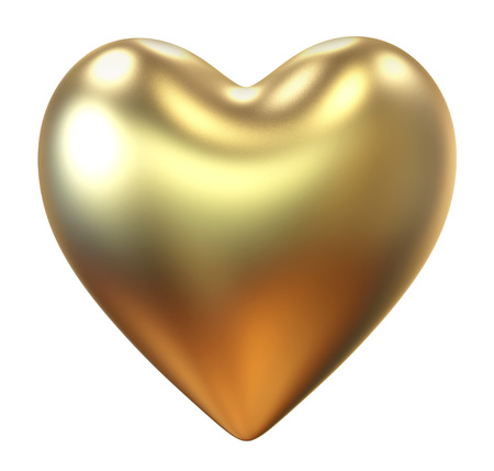 Golden heart St. Valentines Day isolated on white background Banco de Imagens
