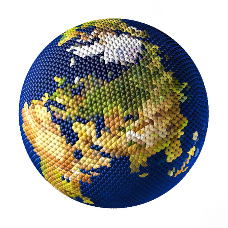 Earth toy consisting of small balls isolated on white backgrounds