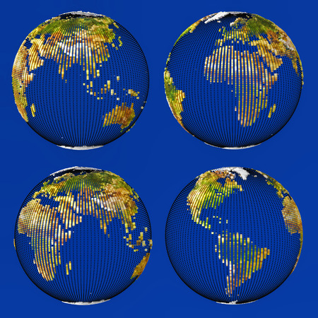 Earth consisting of small cubes set isolated on blue backgrounds