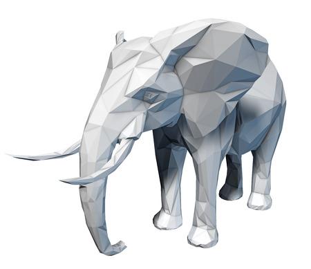 Faceted stylized elephant on white background isolated