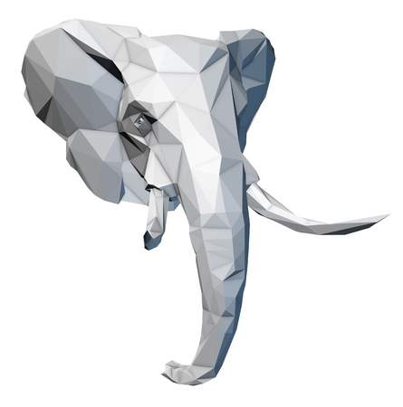 Faceted red elephant on white background isolated