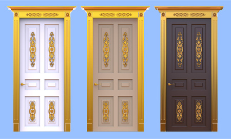 Ancient palace doors set isolated on a blue background 3d illustration