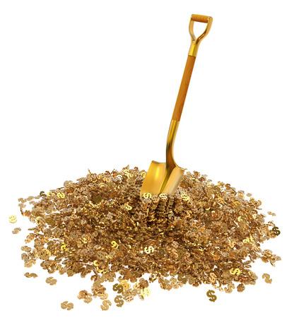 remuneraci�n: d�lar de oro de la monta�a con una pala de oro aislado en el fondo blanco 3d ilustraci�n