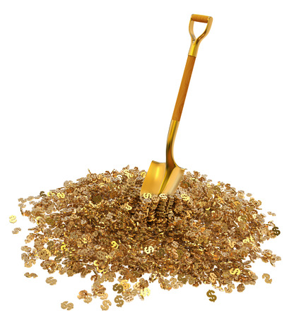 gold shovel: Mountain gold dollar with a gold shovel isolated on white background 3d illustration