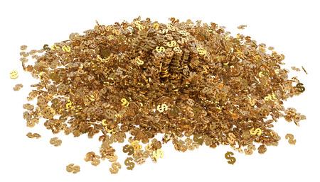 Mountain gold dollars isolated on white background 3d illustration Banco de Imagens