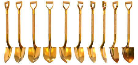 Golden shovel set foreshortening  isolated on white background Stock Photo