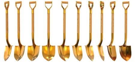 Golden shovel set foreshortening  isolated on white background Zdjęcie Seryjne