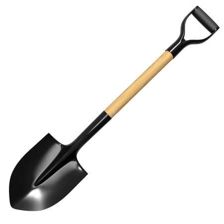 Shovel with wood handel Isolated on white background Banco de Imagens
