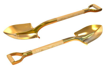 Golden shovel set foreshortening  isolated on white background Banco de Imagens