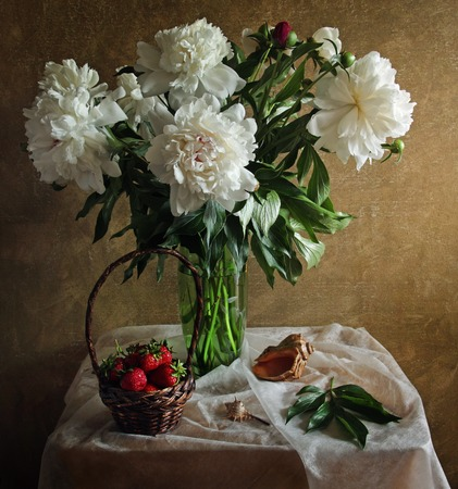 Still life with peonies strawberries and sea shell stylized antique