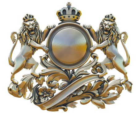 Gold patina old coat of arms with lions on a white background isolated Stock Photo