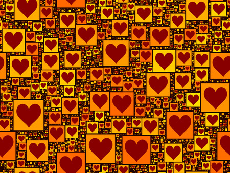 Repeating background pattern. red heart on yellow squares of different sizes.