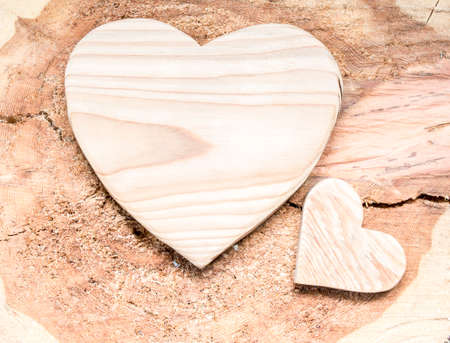 love shape: Two wooden hearts on a wood background