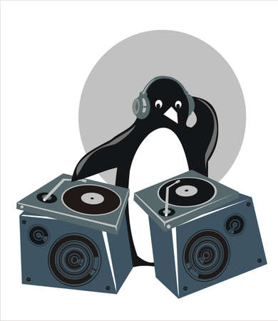 penguin DJ.This image is a vector illustration and can be scaled to any size without loss of resolution.