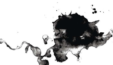 ink stain: Burr ink drops, black and white pic Illustration