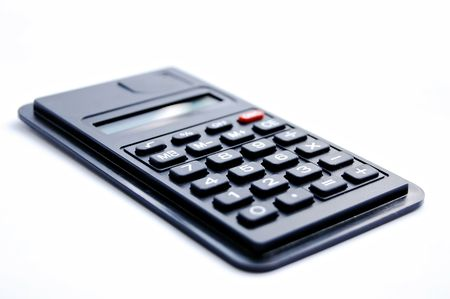 nombre: Calculator isolated on the white background, chiffre Stock Photo