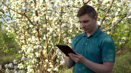 Young man in nature with a tablet in his hands. A man is working through a tablet standing on the background of a blossoming tree.