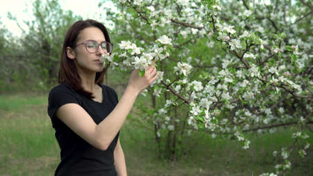 A young woman sniffs a flowering tree. Girl in the apple orchard.