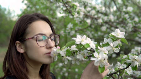 A young woman sniffs a flowering tree. Girl in the apple orchard. Closeup