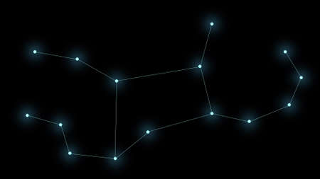 Constellation Virgo on a black background. Glowing blue stars are connected by lines. Banque d'images