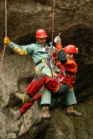 rescue: Cavers work out rescue operations in caves.