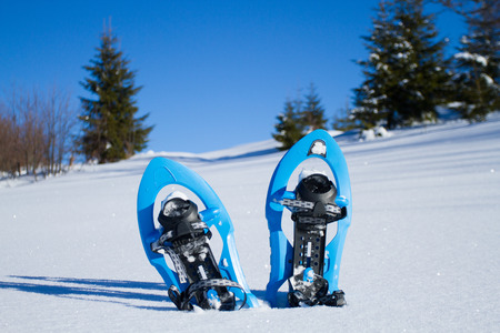 snowshoeing: Snowshoeing. Snowshoes in the snow.