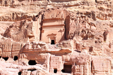 other world: Petra, Lost rock city of Jordan. Petras temples, tombs, theaters and other buildings are scattered over 400 square miles. UNESCO world heritage site and one of The New 7 Wonders of the World.