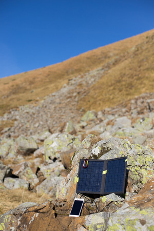 tyan shan mountains: Solar panel.