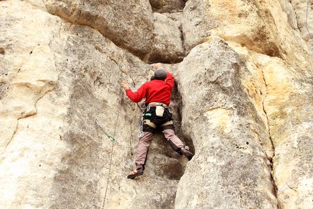 mountain climbing: Climbing. Stock Photo