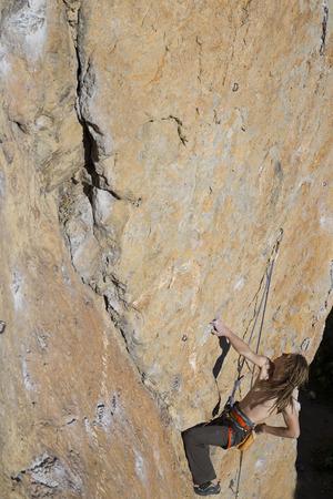rappel: Rock climber to climb the wall. Stock Photo