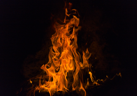 inflame: Illustration of Realistic Burning Fire Flame on black background.