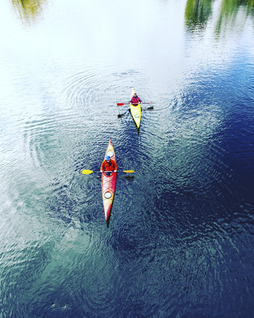 crescent lake: A couple kayaking on Crescent Lake in Park, USA
