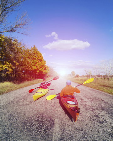 A trip by the river on a kayak.
