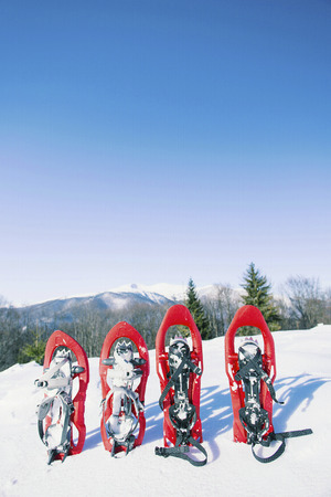 Four red snowshoes stick out in the snow. Stock Photo