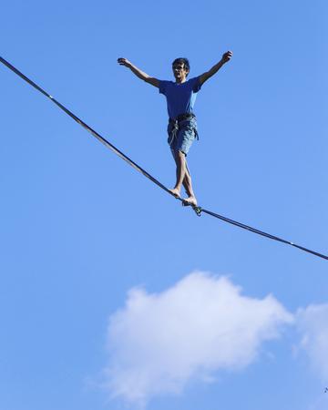 Walk a line in the sky.Turkish Highline Carnival in Antalya.