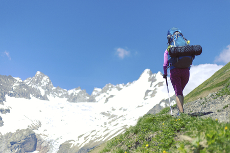 Trekking in the Canadian mountains Banque d'images