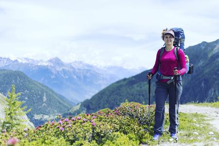 Alpine trekking in Austria extreme vacation view.