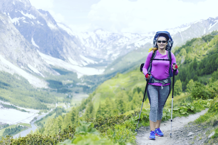 Trekking in the Canadian mountains.Hike is the popular recreation activity in North America. Reklamní fotografie