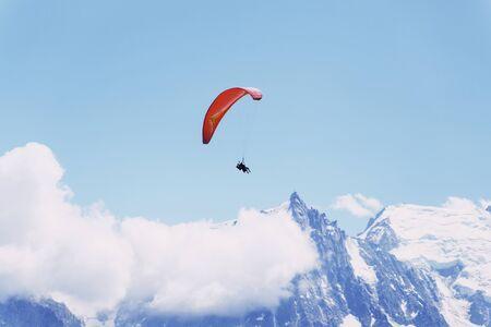 Flying on a paraglider. Chamonix France.Flying on a paraglider. Chamonix France.