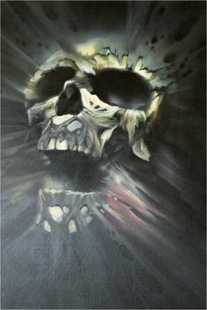 dientes con caries: Artistic image of a skull made in mixed media airbrush and brush Foto de archivo