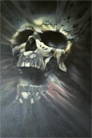 dientes con caries: Imagen artística de un cráneo hecho en técnica mixta con aerógrafo y pincel